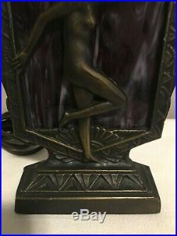 Nude Lady Accent Lamp Slag Glass Art Deco Nouveau 9 H x 5 ¾ W