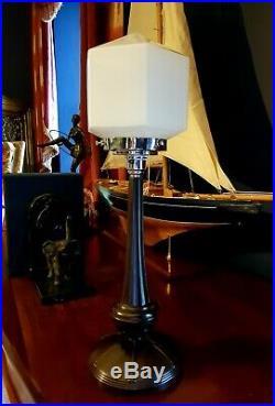 ORIGINAL 1930s ART DECO LAMP TABLE/DESK BAKELITE STEM MILK GLASS SHADE RARE