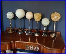 ORIGINAL 1930s ART DECO LAMP TABLE DESK LAMP CHROME STEM GLASS GLOBE SHADE RARE