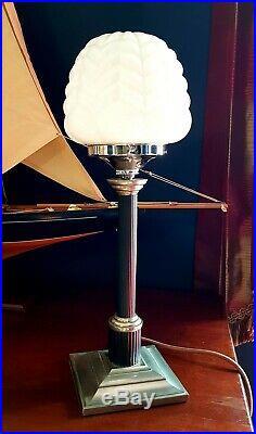 ORIGINAL 1930s ART DECO LAMP TABLE DESK LAMP CHROME STEM MILK GLASS SHADE RARE