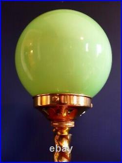ORIGINAL 1930s ART DECO TABLE DESK / LAMP BRASS STEM. ICONIC GLOBE GLASS SHADE
