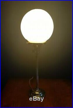 ORIGINAL 1930s ART DECO TABLE DESK LAMP. BRASS STICK LAMP STEM. GLOBE GLASS SHADE