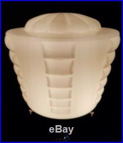 ORIGINAL 1930s ART DECO TABLE DESK LAMP CHROME STEM. GLASS GLOBE SHADE