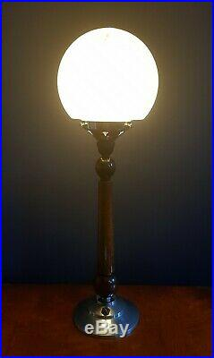 ORIGINAL 1930s ART DECO TABLE DESK LAMP WALNUT & CHROME STEM. GLOBE GLASS SHADE