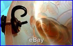 ORIGINAL VINTAGE 1930's ART DECO MOULDED GLASS HANGING LAMP BOWL