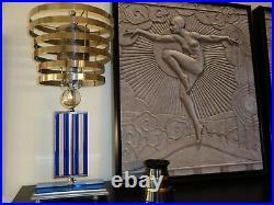 Ol' Blue Eyes 1930's Art Deco Machine Age Cobalt Blue Lamps