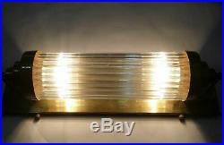 Old Vintage Art Deco Nickel Brass & Glass Rod Light Fixture Wall Sconces Lamp