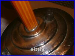 Orange Catalin Phenolic Bakelite & Chrome Art Deco Lamp Lampe Stepped Shade