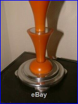 Orange Catalin Phenolic Bakelite Chrome Zigurat Art Deco Lamp Lampe Step Shade