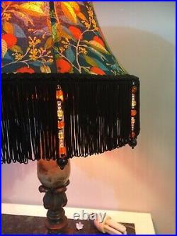 Orange Tree Liberty Lampshade Fringed 31 cm Base Art Deco For Table Lamp