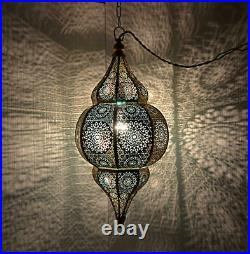 Oriental Moroccan Hanging Pendant Light Metal Ceiling Lamp Shade (Blue) 20 x 10