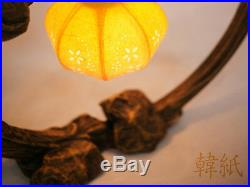 Oriental Paper Lantern Lampshade Shade Table Art Nouveau Deco Accent Yellow Lamp