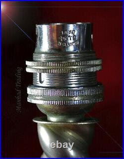 Original 1940s Art Deco barley-twist Chrome Desk Lamp Opaline milk glass shade