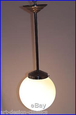 Original ART DECO Opalglas Lampe Chrom Hängelampe Ø 20 cm