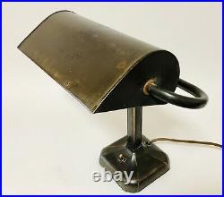 Original Antique Art Deco Industrial Bronzed Bankers Desk Lamp Metal Shade