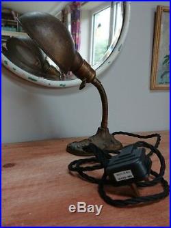 Original Art Deco 1930's Desk Lamp with Flexible Goose Neck metal industrial old