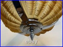 Original Art Deco Amber Glass Ceiling Light Shade Odeon Clam Shell 1930s