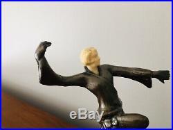 Original Art Deco Bronze Flapper Girl Radio Lamp celluloid head Frankart Era