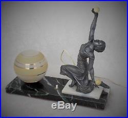 Original Art Deco Figural Spelter Lady Lamp With Original Shade