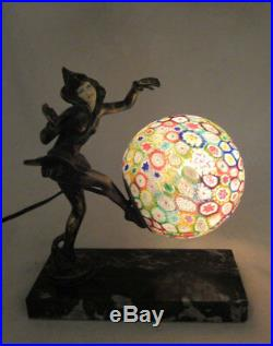Original Art Deco Gerdago Pixie Lamp with Millefiori Shade