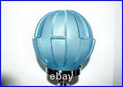 Original Art Deco Ice Blue Colour Glass Lady Table Lamp & Super Art Deco Shade