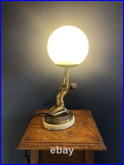 Original Art Deco Lady Lamp With Bronze Patina, Globe Shade And Alabaster Base