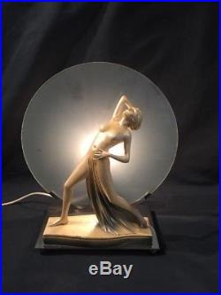 Original Art Deco Lamp Nude Lady With Frosted Glass (ref G804)