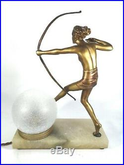 Original Art Deco Lorenzl Nude Gilt Metal Huntress Lamp