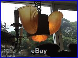 Original Art Deco Slip Shade Chandelier Glass Lamp 4 Light Pendant Very Unusual