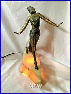 Original Art Deco dancing lady l spelter and alabaster lamp base