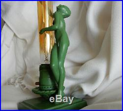 Original Frankart L206 Art Deco Nude Lady Green Statue Lamp Signed 1928