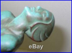 Original Max Le Verrier Illuminating Art Deco Sculpture Lamp Signed