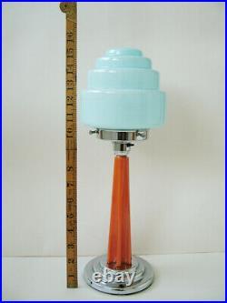 Original Phenolic & Chrome Art Deco Table Lamp With Original Blue Glass Shade