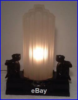 Original Sarsaparilla 1982 Nudes Nymphs Art Deco Table Lamp Handblown Glass