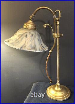 Original Vintage French Art Deco Brass Desk/Table Lamp. Blue White Glass shade