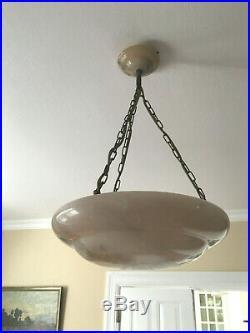 Originale Art Deco/Bauhaus Deckenlampe um 1920 aus geschliffenem Marmor, selten