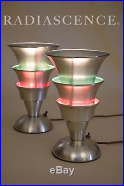 PAIR ART DECO STREAMLINE MODERN ALUMINUM TORCHIERE TABLE LAMPS 30s MARKEL FARIES