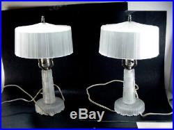 PAIR OF ART DECO FROSTED BOUDOIR / TABLE LAMPS A WONDERFUL PAIR FROM THE 1930's
