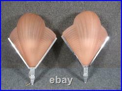 PAIR of VINTAGE ART DECO SLEEK POLISHED STEEL LAMP WALL SCONCES