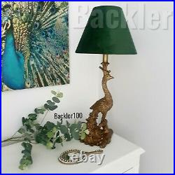 PEACOCK TABLE LAMP BASE resin gold bronzed tone Art Deco style 50cm