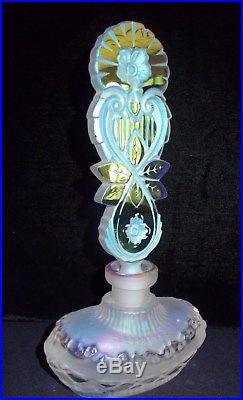 PERFUME bottle signed J. Pesnicak, Art Deco, Czech Iridescent Glass, estate