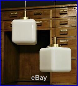 Paar Bauhaus Art Deco messing Opalglas Deckenlampe Deckenleuchte 50er Jahren, B2