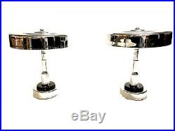 Pair 1930s Art Deco Machine Age Chrome Lamps Flying Saucer Vintage Retro
