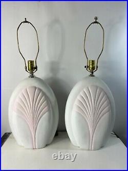 Pair 2 Vtg 80s Art Deco Revival Ceramic Pastel Clam Shell Table Lamps White Pink