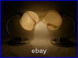 Pair Art Deco Bauhaus Glass Aluminium Wall or Desk Nightstand Bedside Lamp #