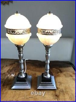Pair Art Deco Lamps Boudoir Petite Nightlight Frosted Glass Silver