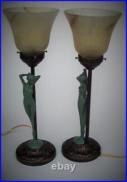 Pair / French art deco Maiden lamps / all original / frankart / nuart era / ex