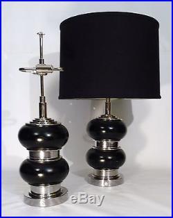 Pair Of Art Deco / Bauhaus Leather Nickel Bulbous Form Table Lamps Lights