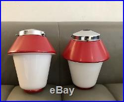 Pair Of Large Art Deco Cased Glass Lamp Shades