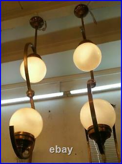 Pair Old Art Deco Bauhaus Fixture Ceiling Brass Hanging Light Milk Glass Lamp
